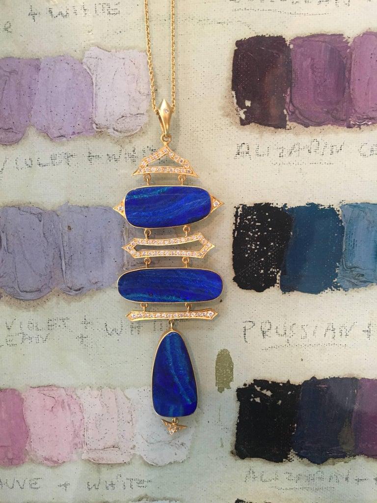 Lauren Harper Boulder Opal, Diamond, Gold Statement Necklace For Sale 3