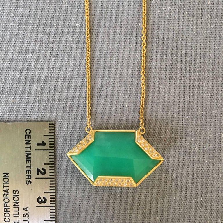 Lauren Harper Chrysophrase .26 Carat Diamonds 18 Karat Gold Necklace For Sale 5