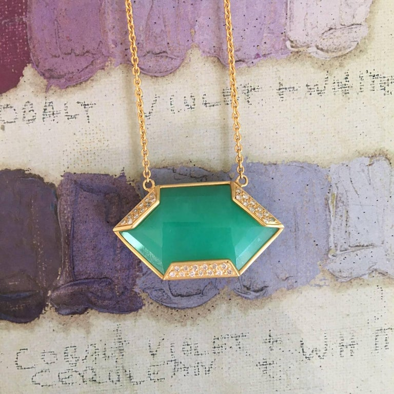 Artist Lauren Harper Chrysophrase .26 Carat Diamonds 18 Karat Gold Necklace For Sale