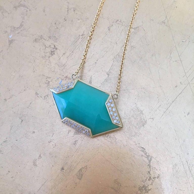 Lauren Harper Chrysophrase .26 Carat Diamonds 18 Karat Gold Necklace For Sale 1