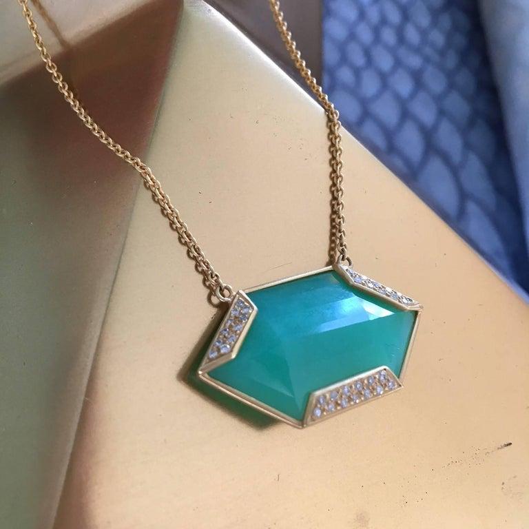 Lauren Harper Chrysophrase .26 Carat Diamonds 18 Karat Gold Necklace For Sale 3