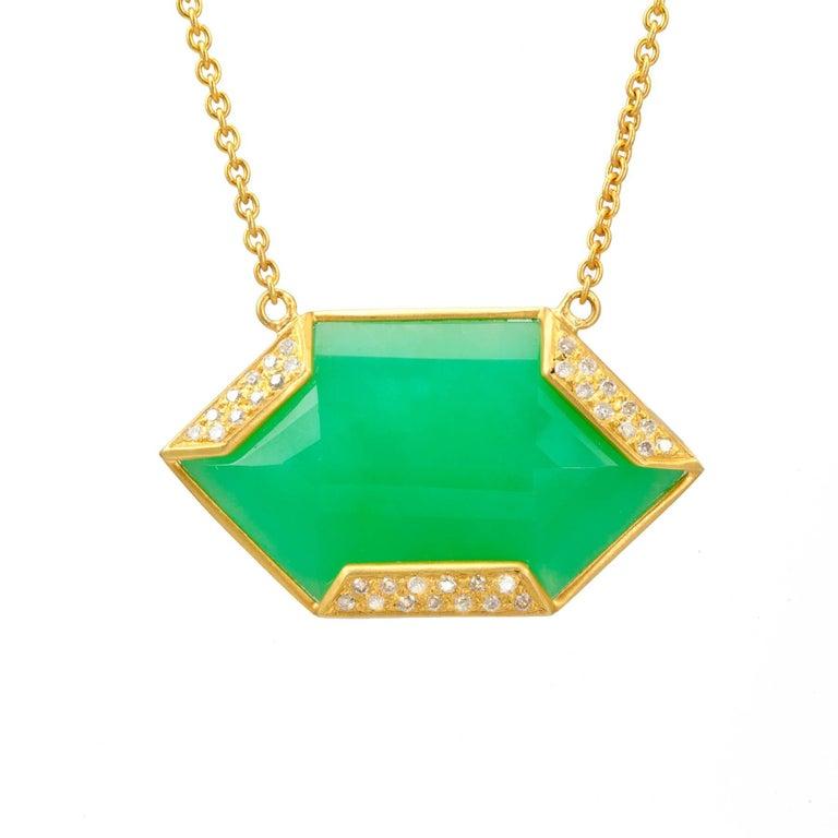 Lauren Harper Chrysophrase .26 Carat Diamonds 18 Karat Gold Necklace For Sale