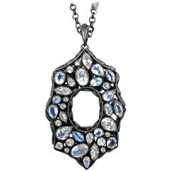 Lauren Harper Double Sided Rainbow Moonstone Black Spinel Flip Pendant Necklace