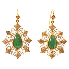Green Tourmaline Diamond Gold Earrings by Lauren Harper