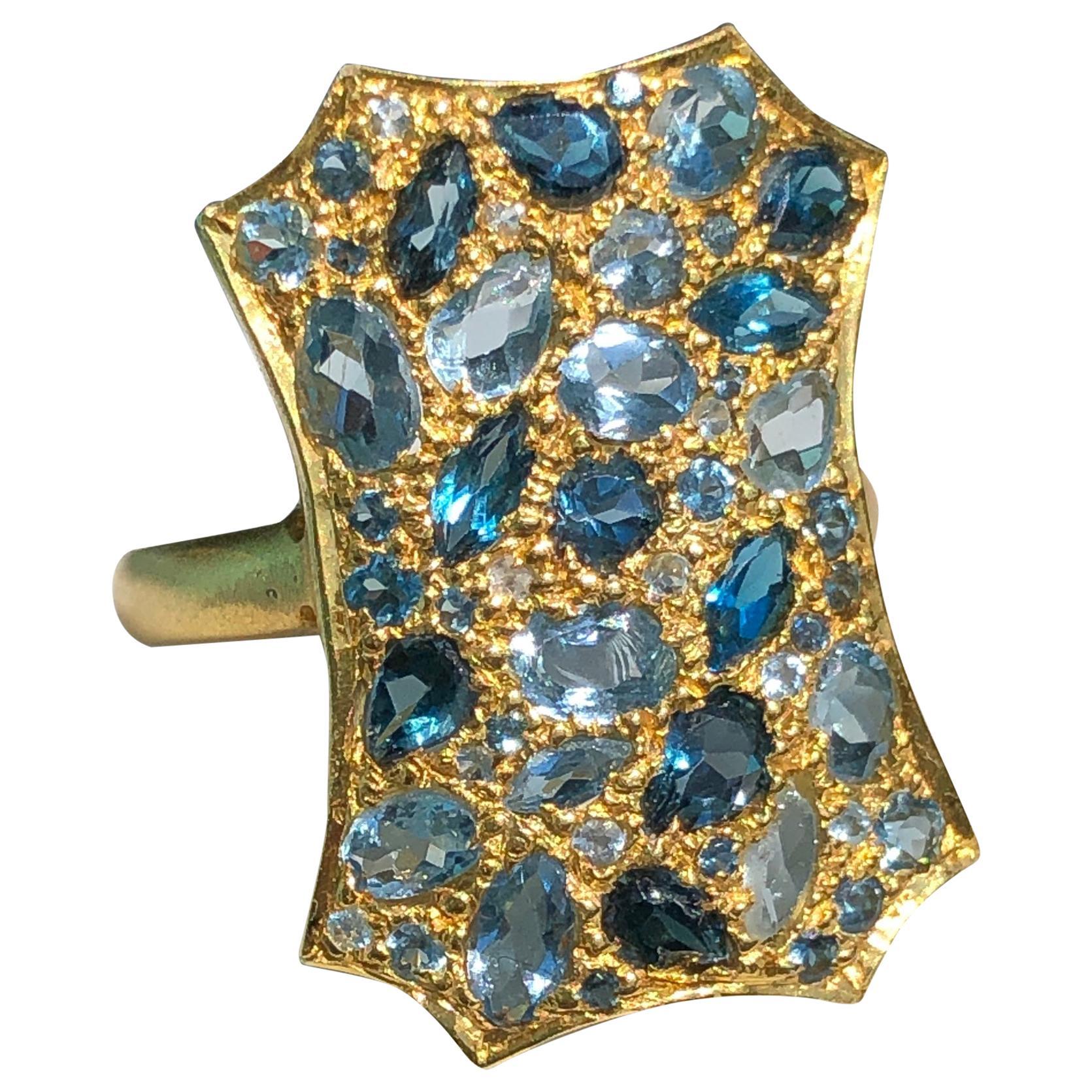 Aquamarine London Blue Topaz Gold Cocktail Ring by Lauren Harper