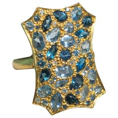 Aquamarine London Blue Topaz Gold Cocktail Ring by Lauren Harper