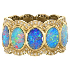 Lauren Harper Oval Boulder Opal White Diamond Matte Gold Eternity Band Ring