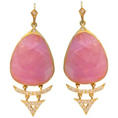 Pink Sapphire Diamond Gold Earrings by Lauren Harper