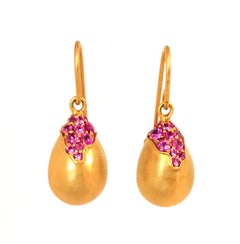 Pink Sapphire Gold Drop Earrings by Lauren Harper