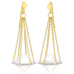 Lauren Harper Rainbow Moonstone Diamond One of a Kind Chain Balance Earrings