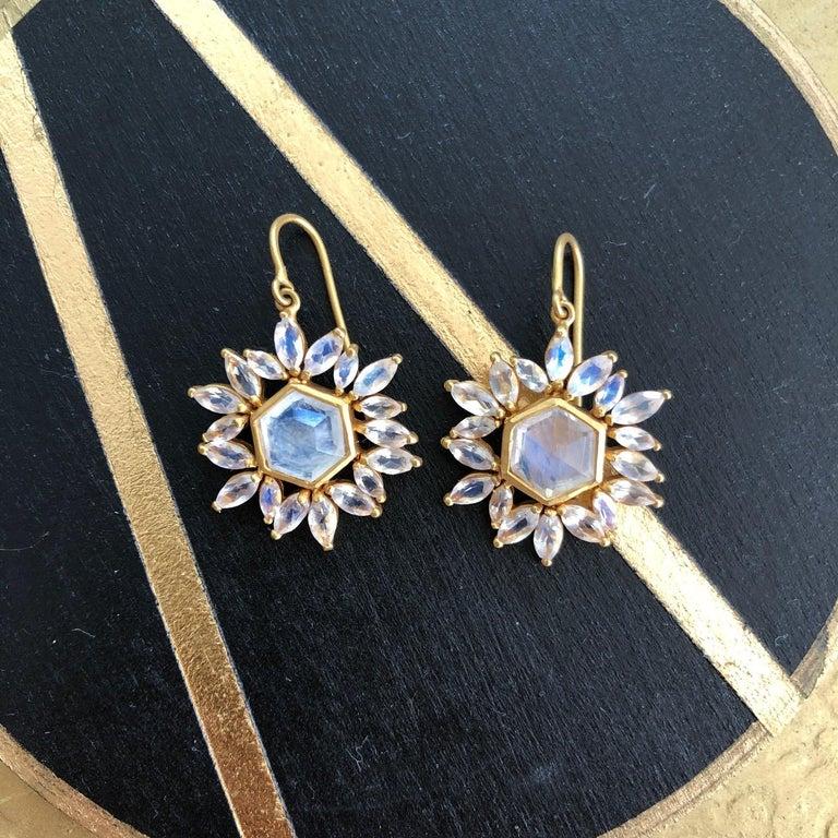 Lauren Harper Rainbow Moonstone Gold Earrings For Sale 4
