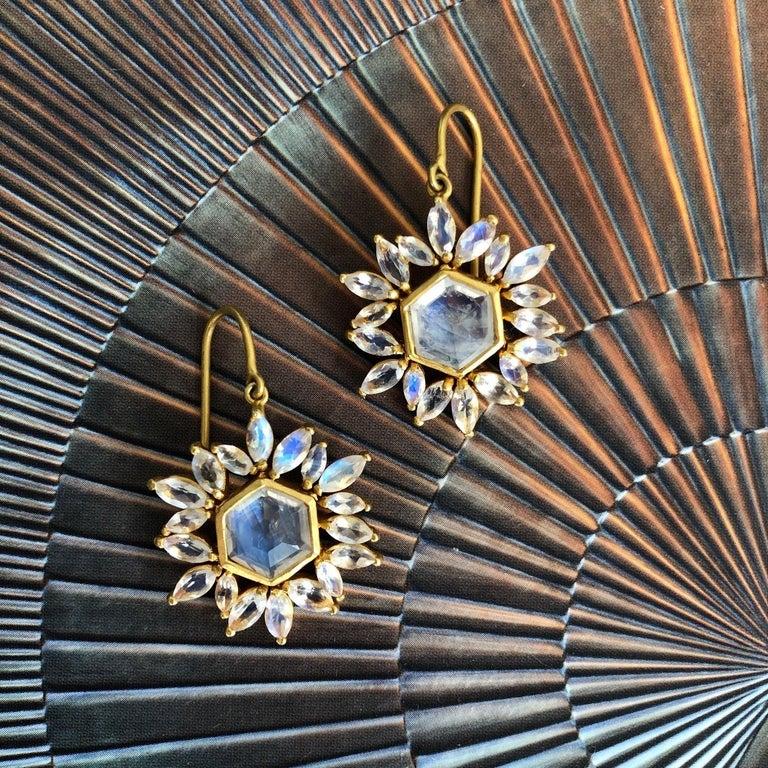 Lauren Harper Rainbow Moonstone Gold Earrings For Sale 5