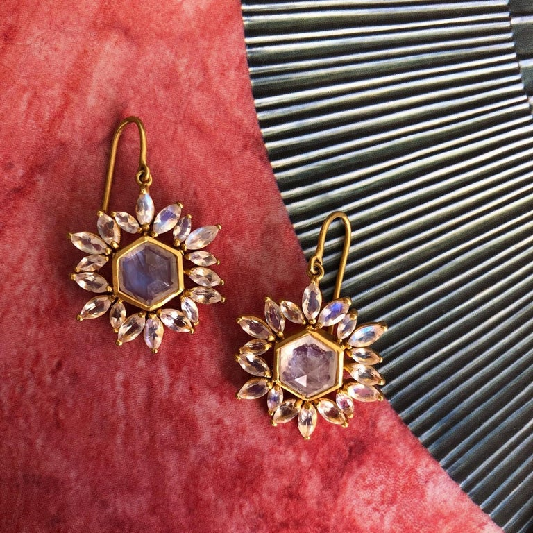 Lauren Harper Rainbow Moonstone Gold Earrings For Sale 6