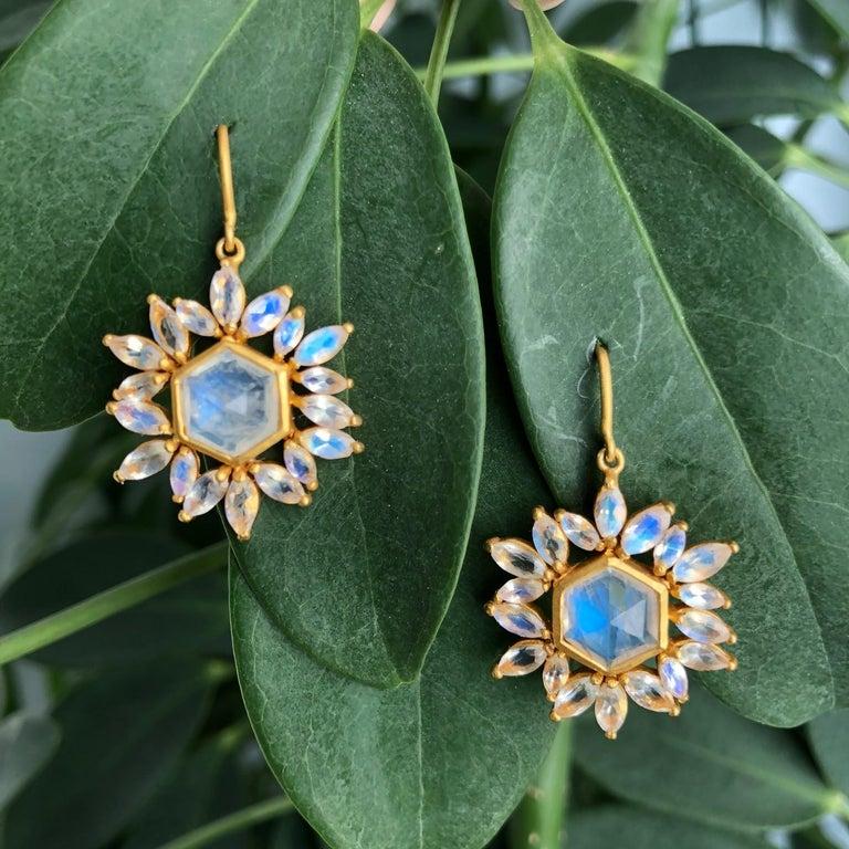 Lauren Harper Rainbow Moonstone Gold Earrings For Sale 7