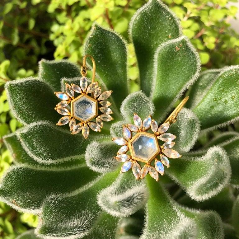 Lauren Harper Rainbow Moonstone Gold Earrings For Sale 8