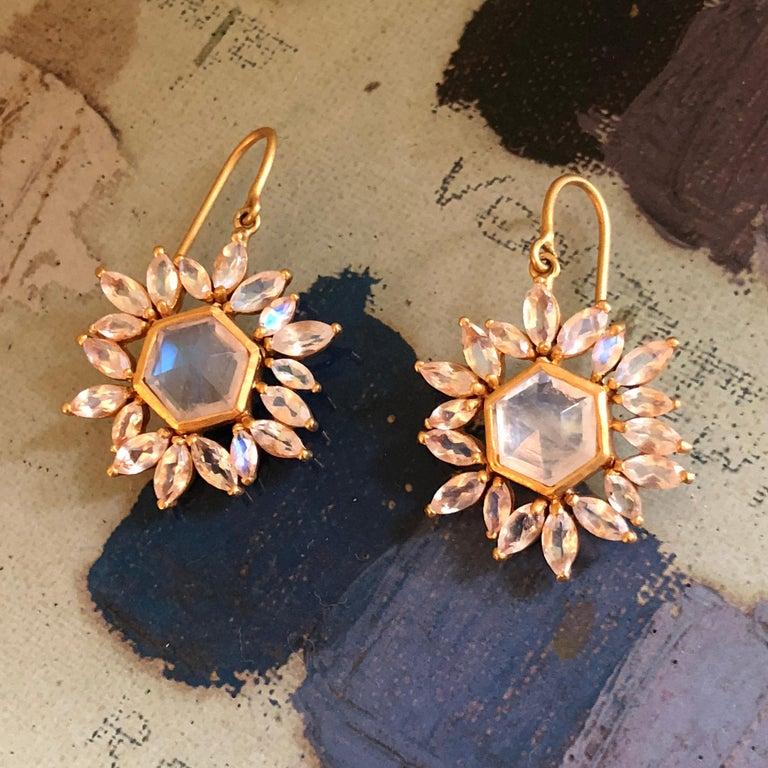 Contemporary Lauren Harper Rainbow Moonstone Gold Earrings For Sale