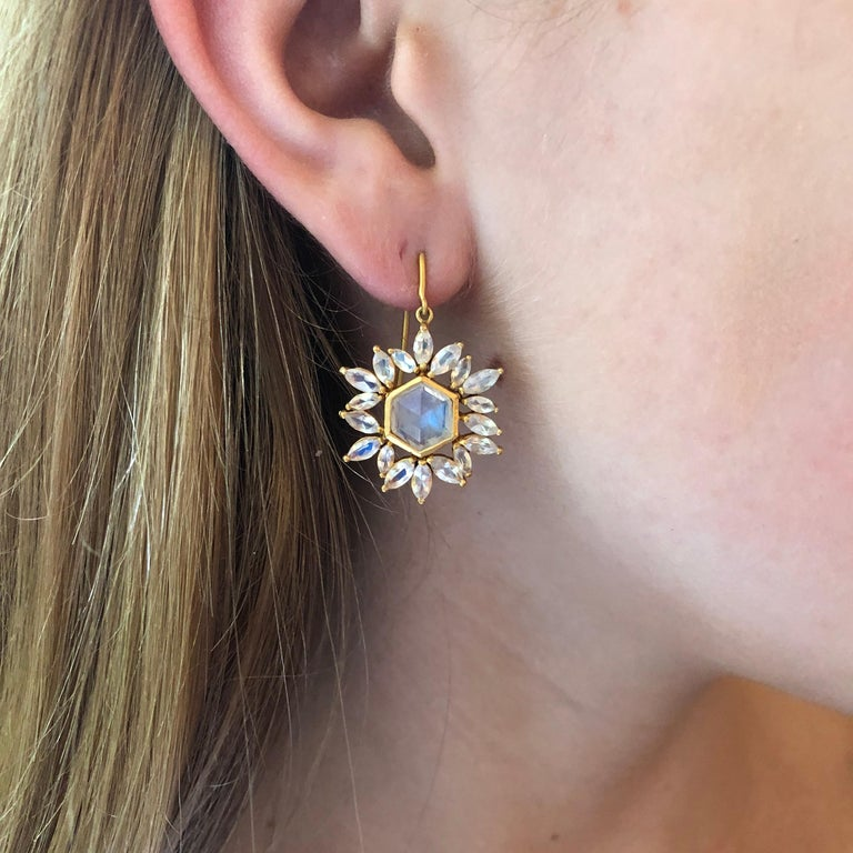 Marquise Cut Lauren Harper Rainbow Moonstone Gold Earrings For Sale