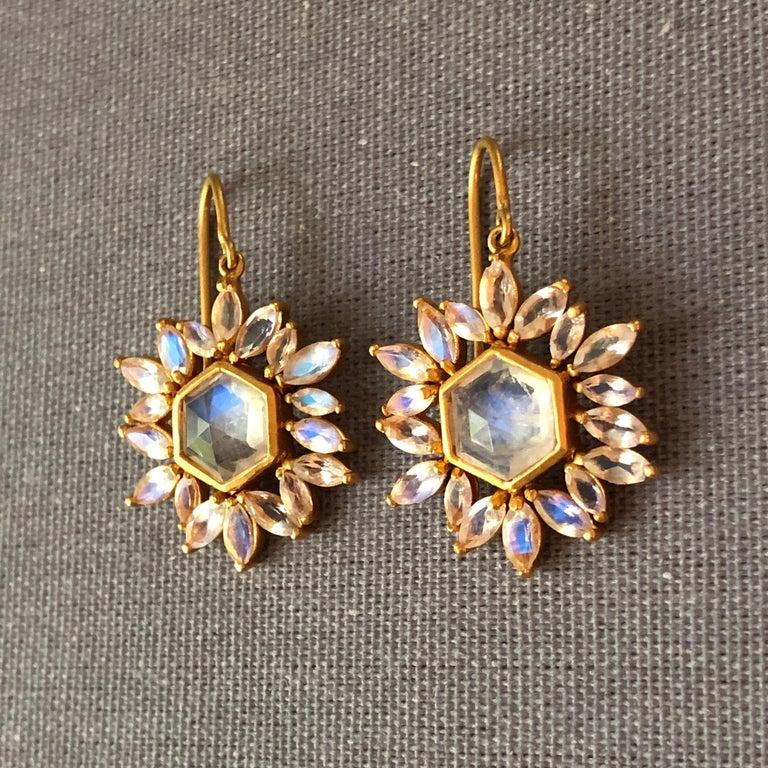 Women's Lauren Harper Rainbow Moonstone Gold Earrings For Sale