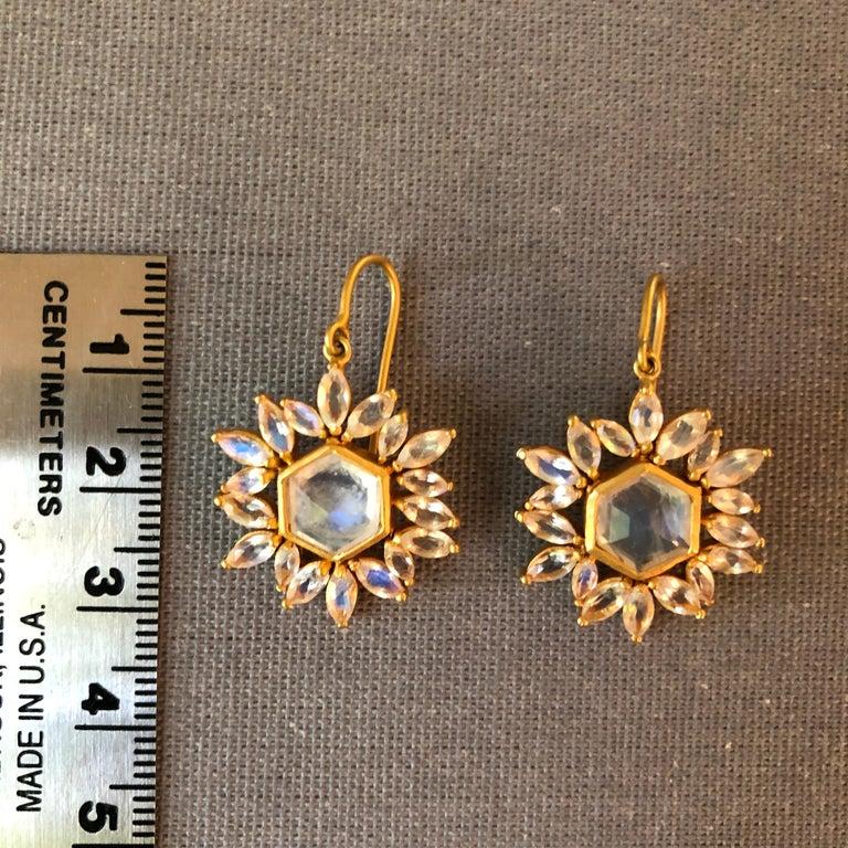Lauren Harper Rainbow Moonstone Gold Earrings For Sale 1
