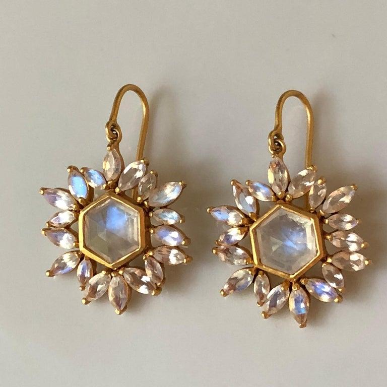 Lauren Harper Rainbow Moonstone Gold Earrings For Sale 2