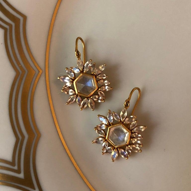 Lauren Harper Rainbow Moonstone Gold Earrings For Sale 3