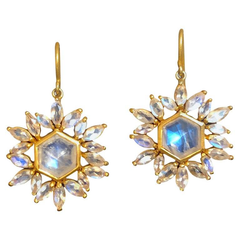 Lauren Harper Rainbow Moonstone Gold Earrings For Sale
