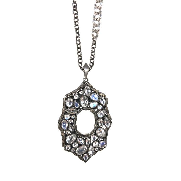 Rainbow Moonstone Spinel White Topaz Black Silver Necklace by Lauren Harper For Sale 5