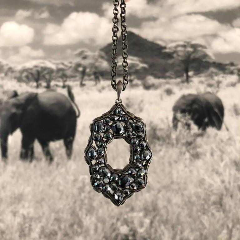 Art Deco Rainbow Moonstone Spinel White Topaz Black Silver Necklace by Lauren Harper For Sale