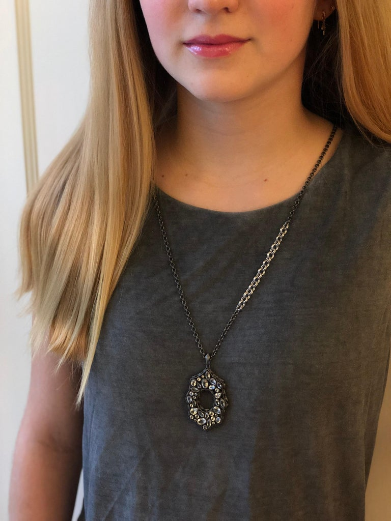 Rainbow Moonstone Spinel White Topaz Black Silver Necklace by Lauren Harper In New Condition For Sale In Winnetka, IL