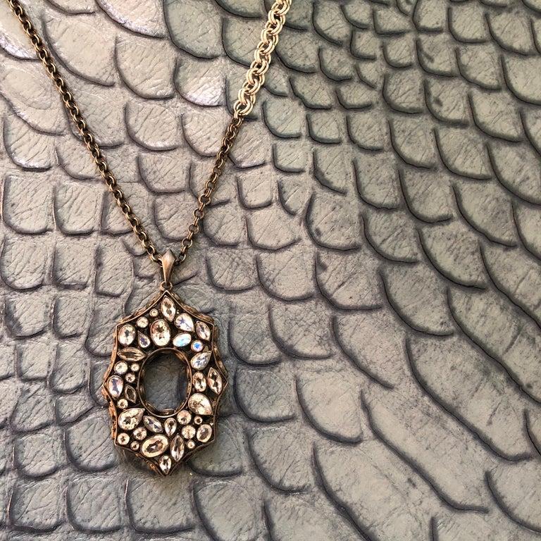 Women's Rainbow Moonstone Spinel White Topaz Black Silver Necklace by Lauren Harper For Sale