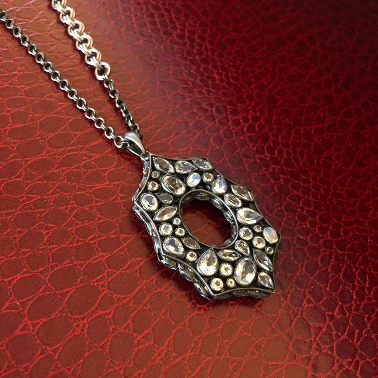 Rainbow Moonstone Spinel White Topaz Black Silver Necklace by Lauren Harper For Sale 1