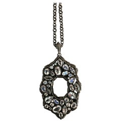 Lauren Harper Rainbow Moonstone Spinel White Topaz Black Silver Deco Necklace
