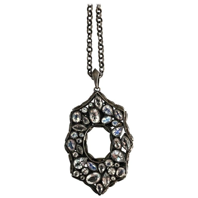 Rainbow Moonstone Spinel White Topaz Black Silver Necklace by Lauren Harper For Sale
