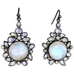 Rainbow Moonstone White Topaz Black Silver Earrings by Lauren Harper
