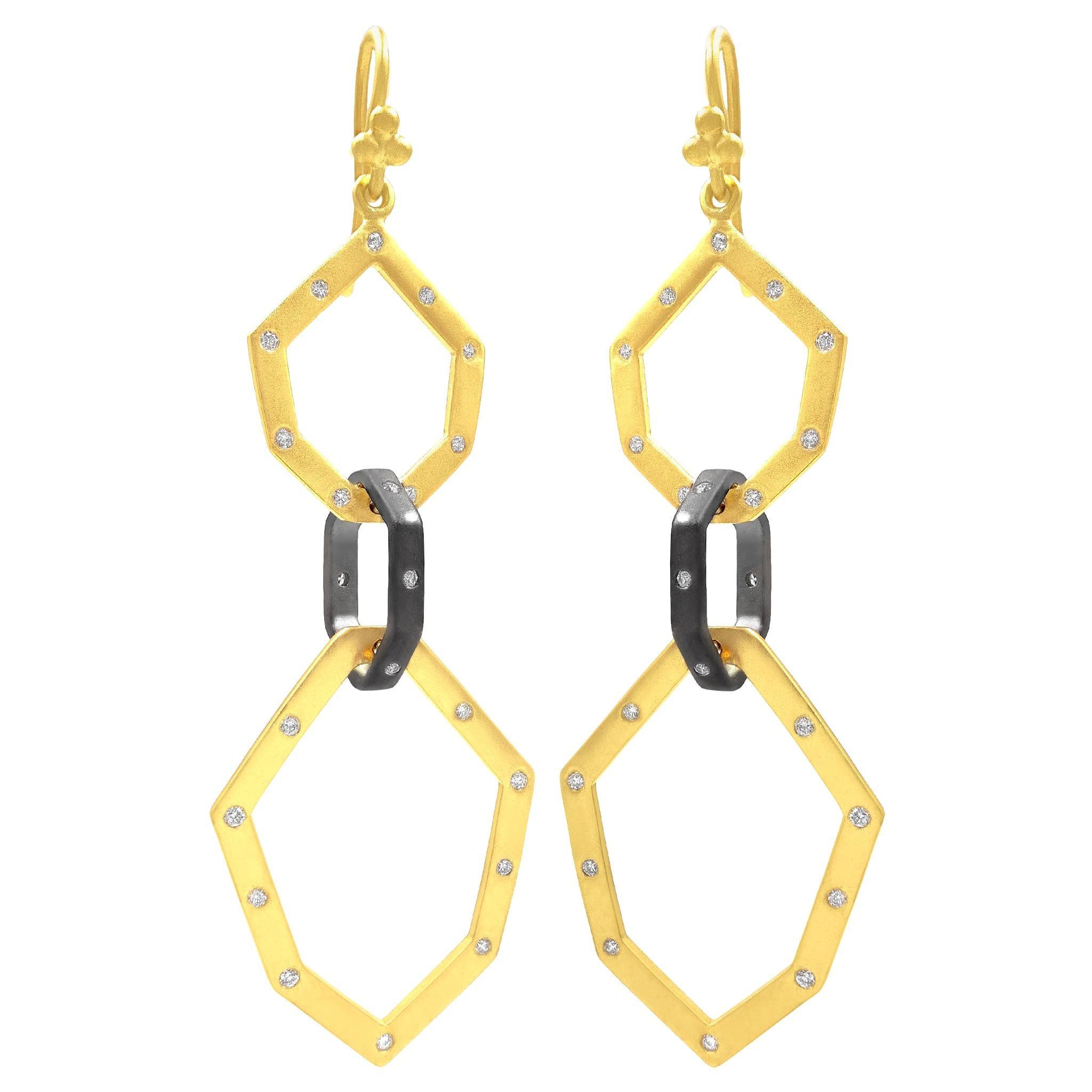 Lauren Harper White Diamond Geometric Link Oxidized Silver Gold Drop Earrings