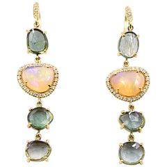Lauren K. 9.10 Carat Green Tourmaline and Faceted Opal Dangle Earrings 18K Gold