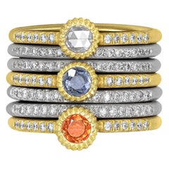 Lauren K. White Diamond Blue and Orange Sapphire High Karat Gold Stacking Rings