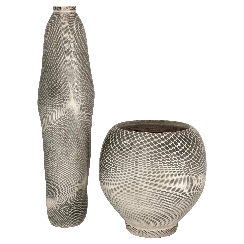 Lauren Kaplan Abstraction Stoneware Vessels