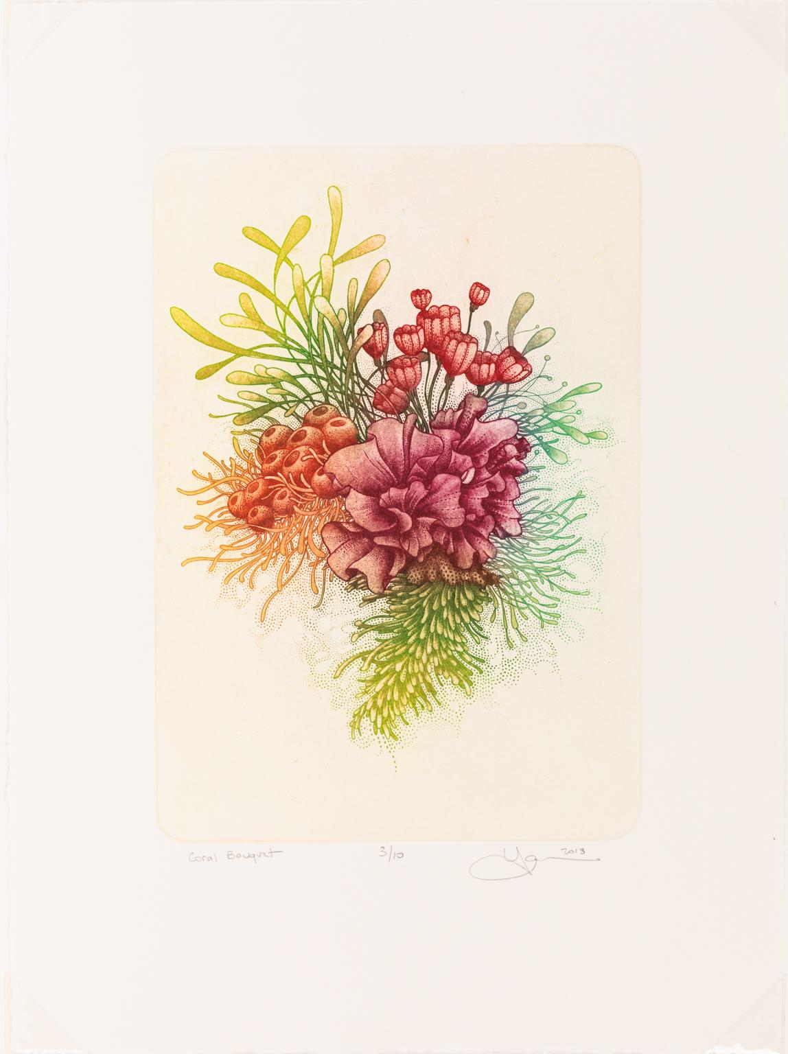 Coral Bouquet - Color Etching of Coral and Plant Life in Green, Orange, Red