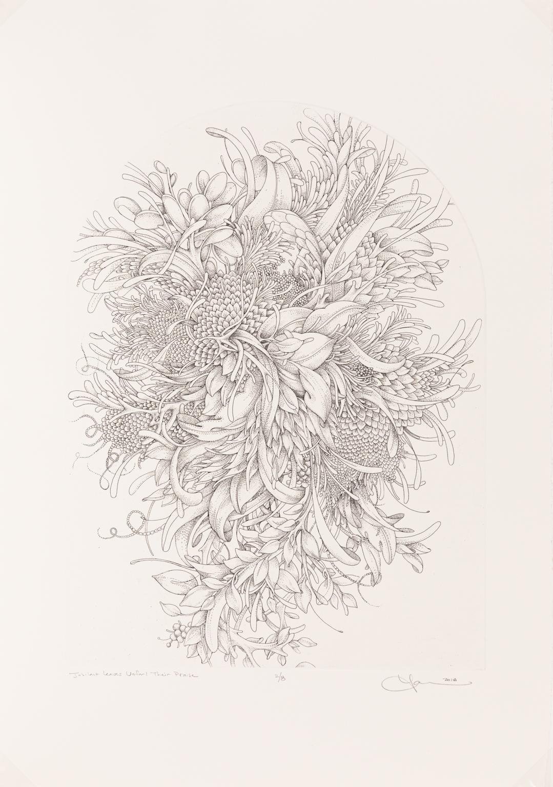 Jubilant Leaves Unfurl Their Praise  Etching of Underwater Coral and Plant Life