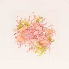 Roseate Delights - Color Etching of Underwater Sea and Plant Life Red Orange
