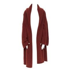 LAUREN MANOOGIAN maroon brown hand loomed alpaca wool oversized coat cardigan