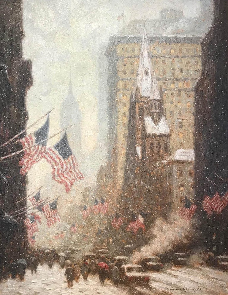 5th Avenue in Winter - Painting by Laurence A. Campbell