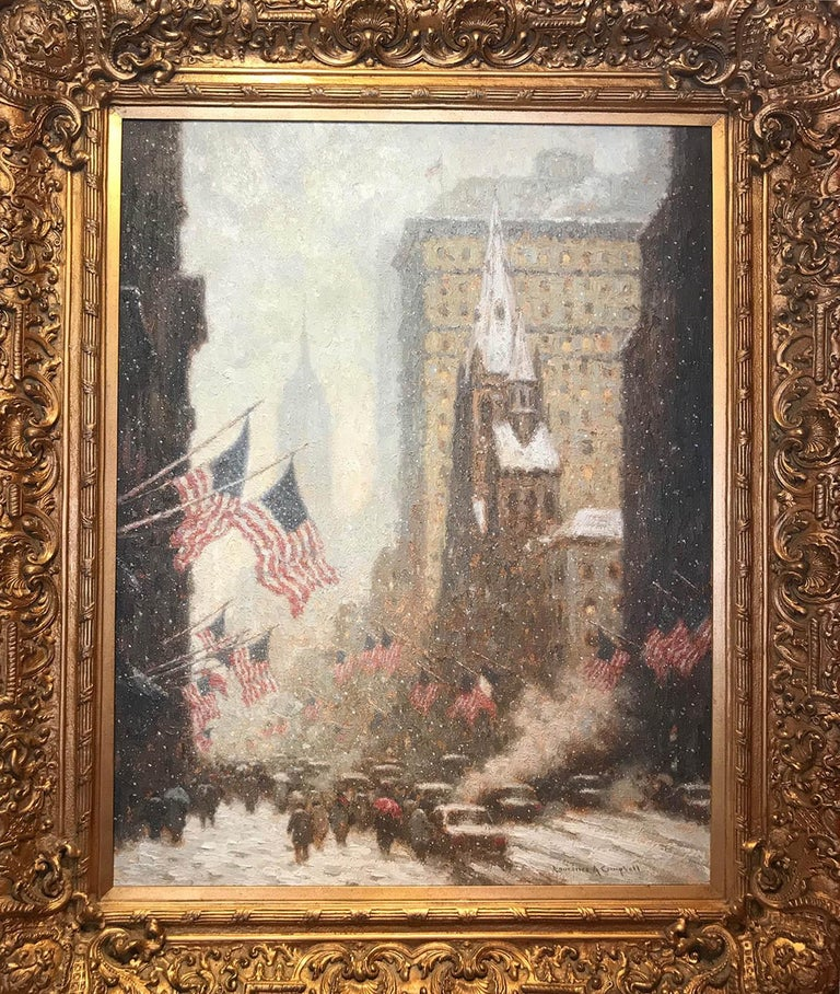 Laurence A. Campbell Landscape Painting - 5th Avenue in Winter