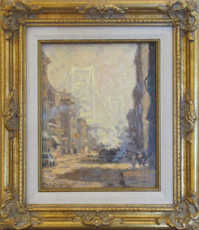 "Laurence A. Campbell Landscape Painting - ""Ben Franklin Bridge"""