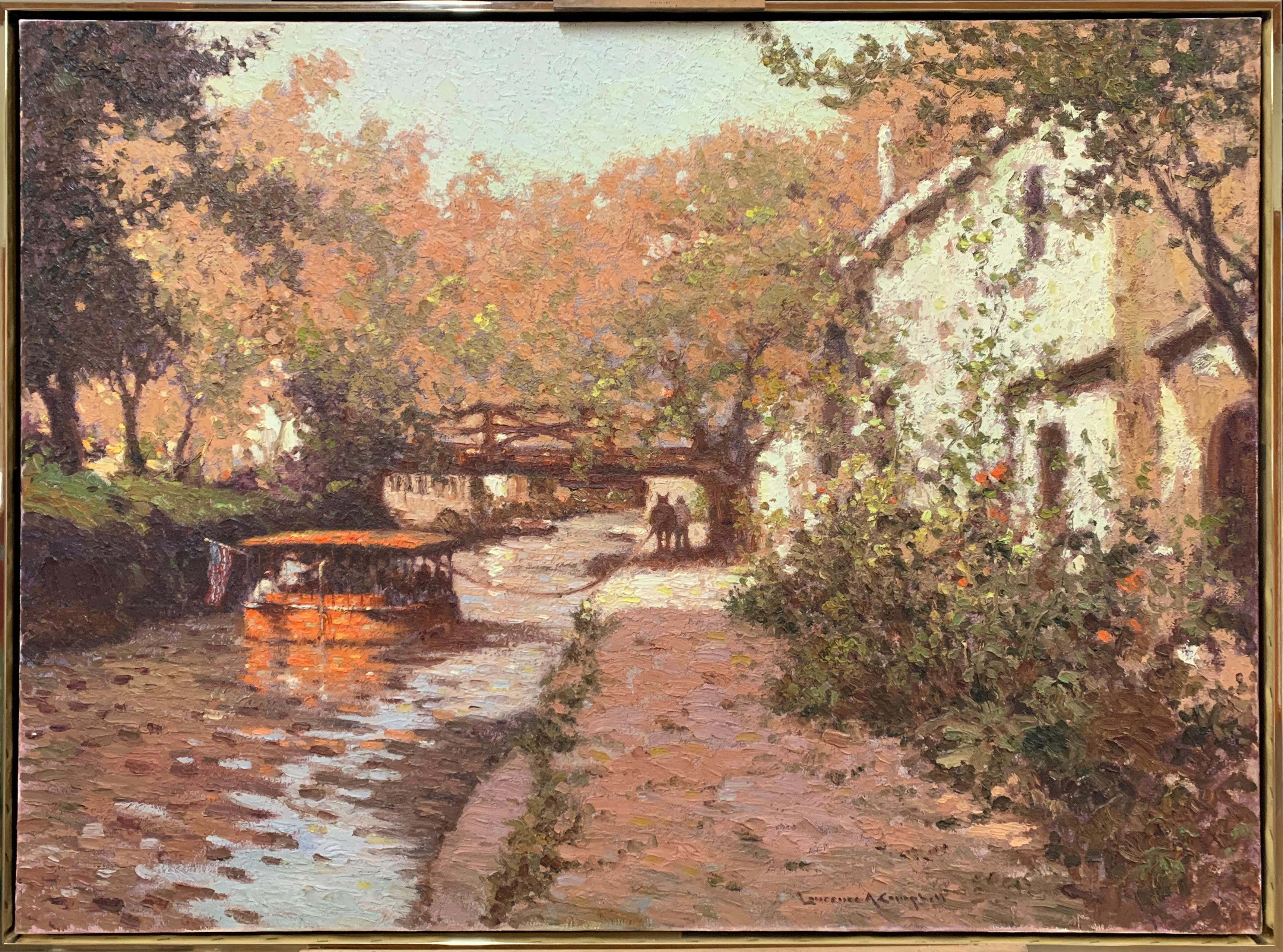 New Hope Canal, Bucks County, Pennsylvania Impressionist, Regional Landscape