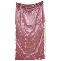 Laurence and Chico pink velvet white pearls Skirt