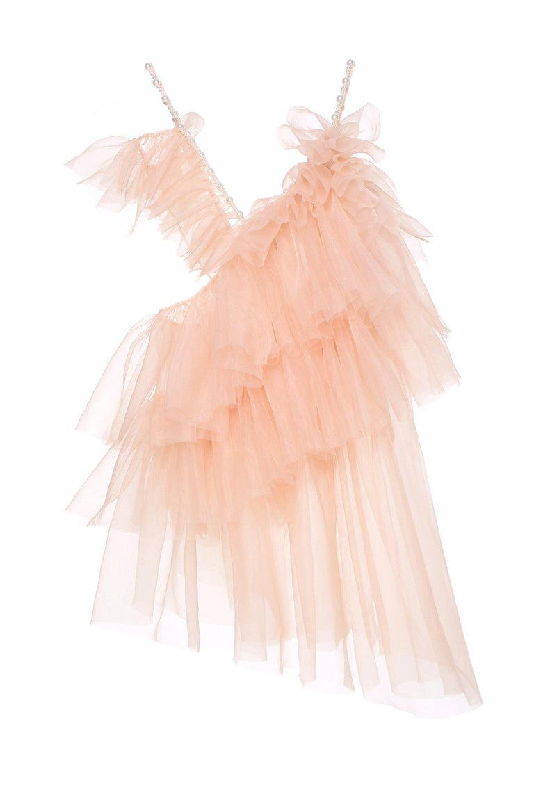 Laurence and Chico Tulle Dress  Dress in Tulle Ruffled Asymmetrical with Mini Pearl Straps, Beige