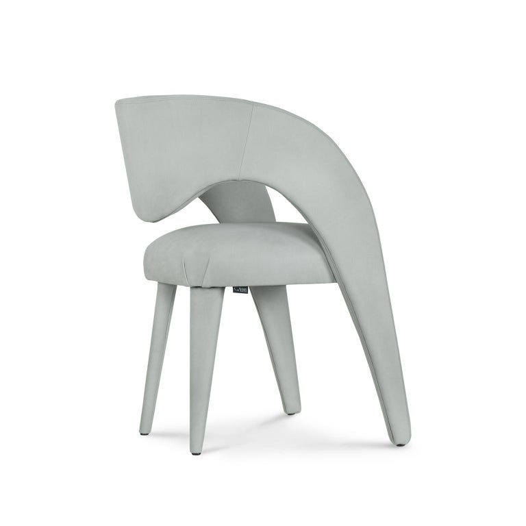 21st Century Modern Laurence Chair with Armrests Nubuck Handcrafted Greenapple For Sale 5