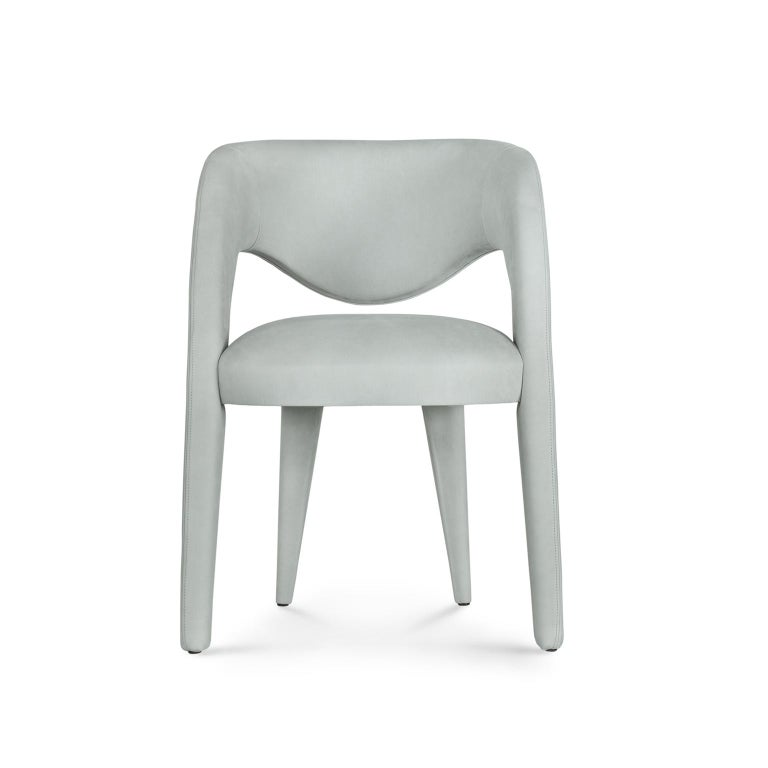 21st Century Modern Laurence Chair with Armrests Nubuck Handcrafted Greenapple For Sale 6